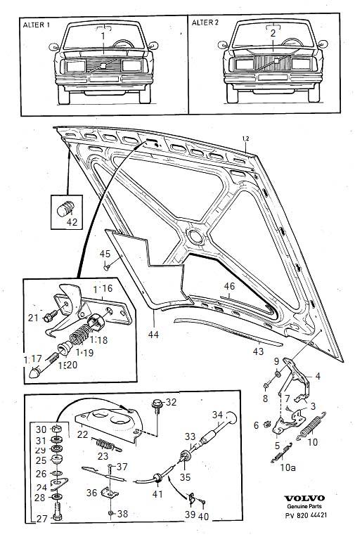 1992 volvo 240 hood hinge  left  genuine classic part